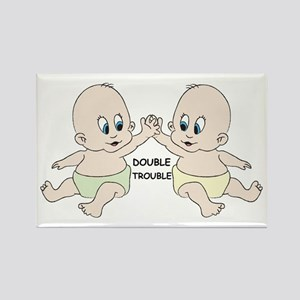 DOUBLE TROUBLE TWINS Rectangle Magnet