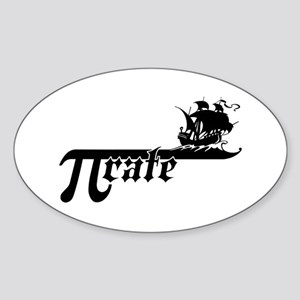 Pi rate Ship Oval Sticker
