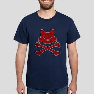 Plaid Kitty X-Bones by Rotem Gear Dark T-Shirt