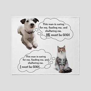 Dog Vs Cat Throw Blanket