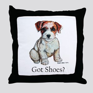 Jack Russell Shoes Throw Pillow