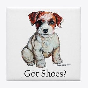 Jack Russell Shoes Tile Coaster