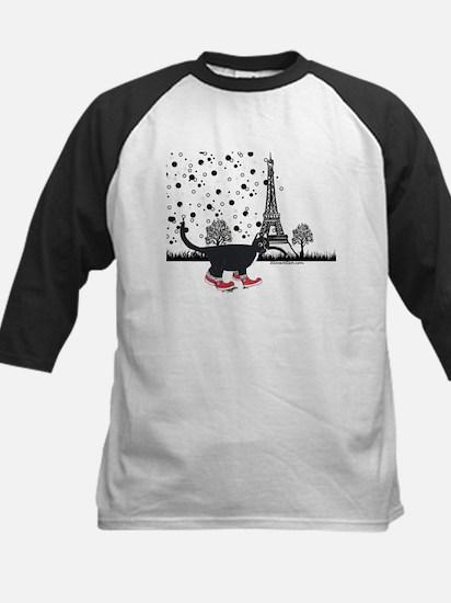 Tuxedo cat in Paris Kids Baseball Jersey