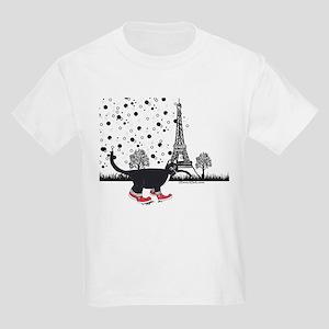 Tuxedo cat in Paris Kids Light T-Shirt