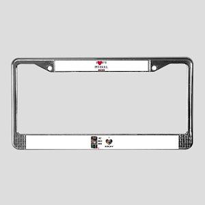 LOVE MY PIT BULL ROCKY License Plate Frame