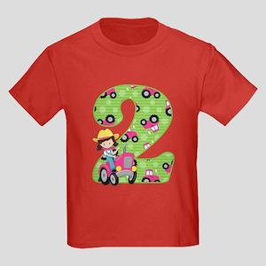 Tractor Girl 2nd Birthday Kids Dark T Shirt