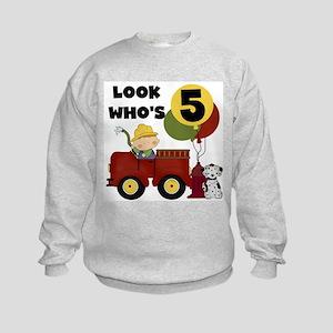 Fireman 5th Birthday Kids Sweatshirt
