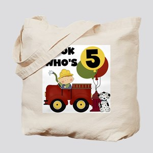 Fireman 5th Birthday Tote Bag