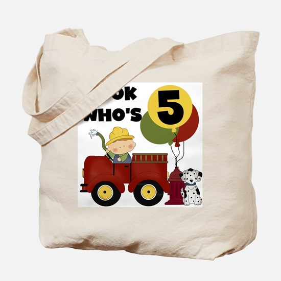 Fireman 5th Birthday Tote Bag