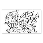Midrealm white dragon vinyl Rectangle Sticker