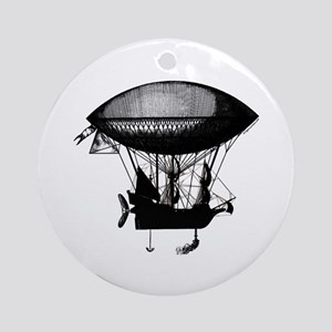 Steampunk pirate airship Ornament (Round)