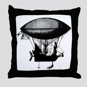 Steampunk pirate airship Throw Pillow