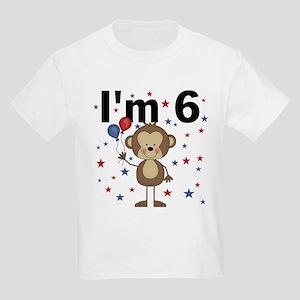 Party Monkey 6th Birthday Kids Light T-Shirt