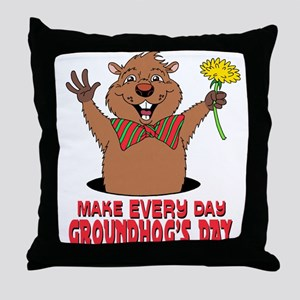Cartoon Groundhog Throw Pillow
