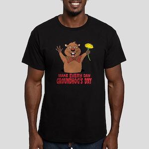 Cartoon Groundhog Men's Fitted T-Shirt (dark)