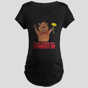 Cartoon Groundhog Maternity Dark T-Shirt