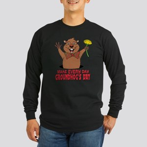Cartoon Groundhog Long Sleeve Dark T-Shirt