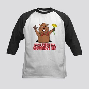 Cartoon Groundhog Kids Baseball Jersey
