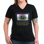 West Virginia Proud Citizen Women's V-Neck Dark T-