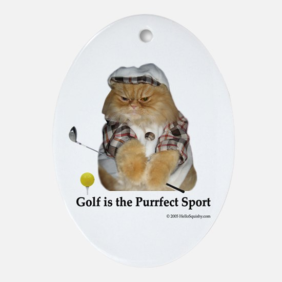 Golf is Purrfect Oval Ornament