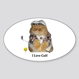 I Love Golf Oval Sticker
