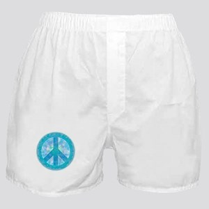Peace Sign Blue Boxer Shorts