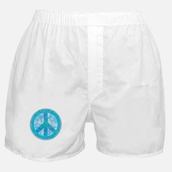 Peace Sign Blue Boxer Shorts
