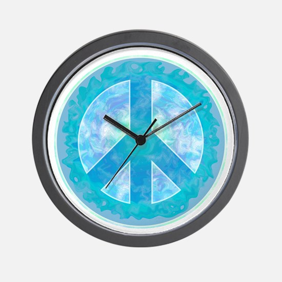 Peace Sign Blue Wall Clock