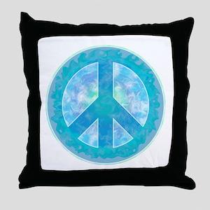 Peace Sign Blue Throw Pillow