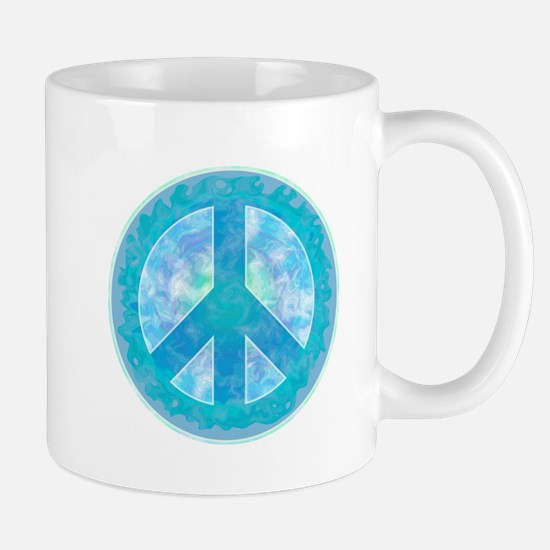 Peace Sign Blue Mug