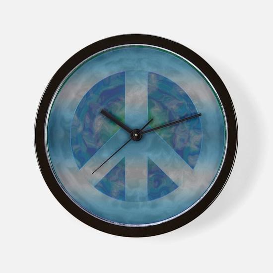 Peace Sign Blue 2 Wall Clock