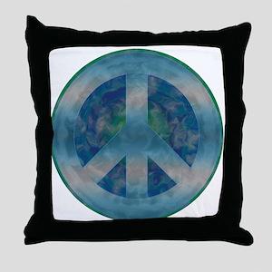 Peace Sign Blue 2 Throw Pillow