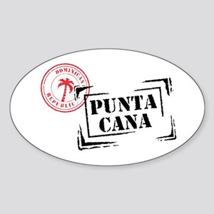Punta Cana Passport Stamp Oval Sticker