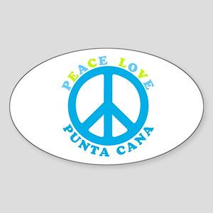 Peace Love Punta Cana Oval Sticker