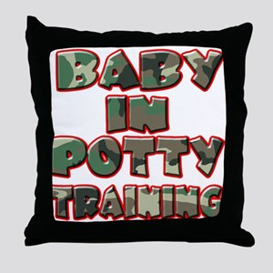 Baby in Potty Training (green Throw Pillow