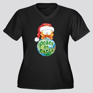 Peace On Earth Garfield Women's Plus Size V-Neck D