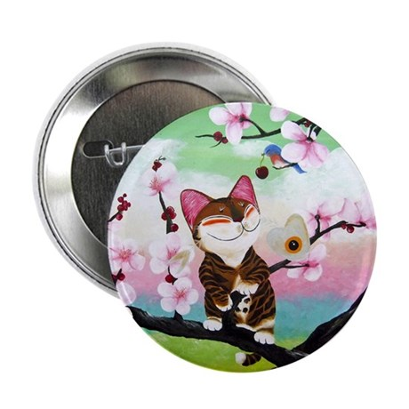 "CAT ART ~ Seasons - Spring Ca 2.25"" Button"