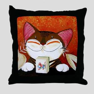 CAT ART ~ The Winning Tile Throw Pillow