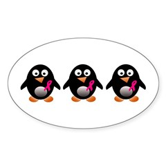 For a cure penguins Oval Sticker (50 pk)