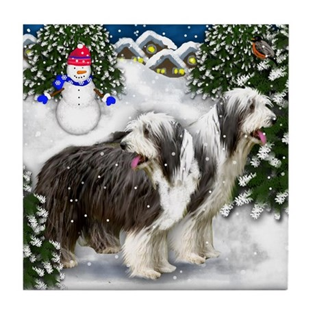 BEARDED COLLIE DOGS WINTER VILLAGE Tile Coaster