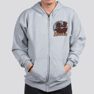 Alaska Moose Zip Hoodie