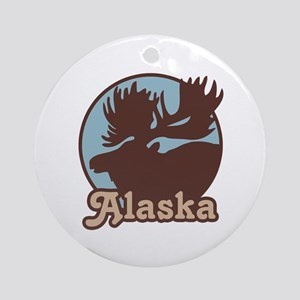 Alaska Moose Ornament (Round)