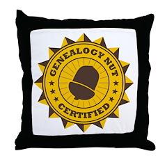 Certified Genealogy Nut Throw Pillow