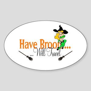 Have Broom pinup Oval Sticker