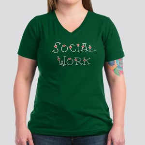 Social Work Hearts (Design 2) Women's V-Neck Dark