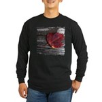 Red Autumn Leaf Long Sleeve Dark T-Shirt