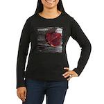 Red Autumn Leaf Women's Long Sleeve Dark T-Shirt