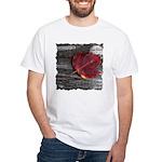 Red Autumn Leaf White T-Shirt