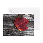 Red Autumn Leaf Greeting Card