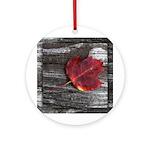 Red Autumn Leaf Ornament (Round)